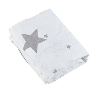 "Large Swaddle Blanket / Muslin 47"" X 47"" - ASSORTED STARS"