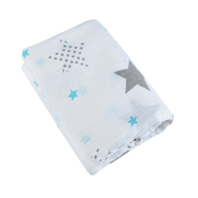 "Large Swaddle Blanket / Muslin 47"" X 47"" - STARS"