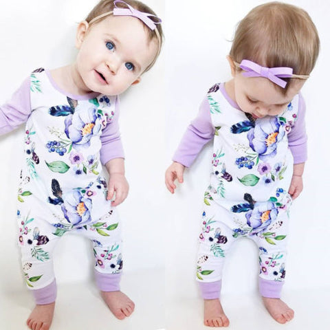 Lilac Floral Long Sleeve  Romper Suit (0 - 24 months) www.bluebelleloves.com