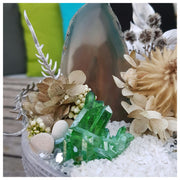 Green agate slice with green quartz cluster