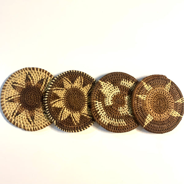 4 mix set cane coasters