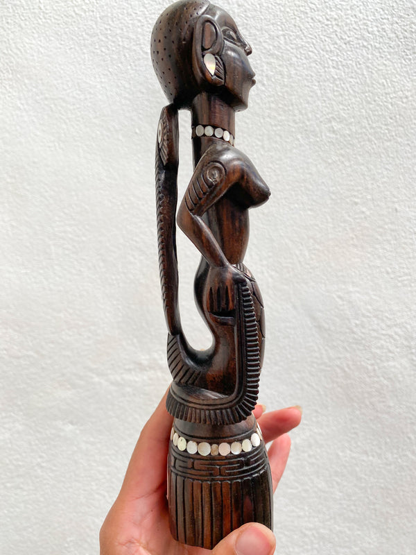 Mermaid Figurine with Shell Inlay