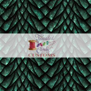 "Retail Emerald Dragon Scales, Cotton Lycra Tumber/Cup cut (9x14"")"