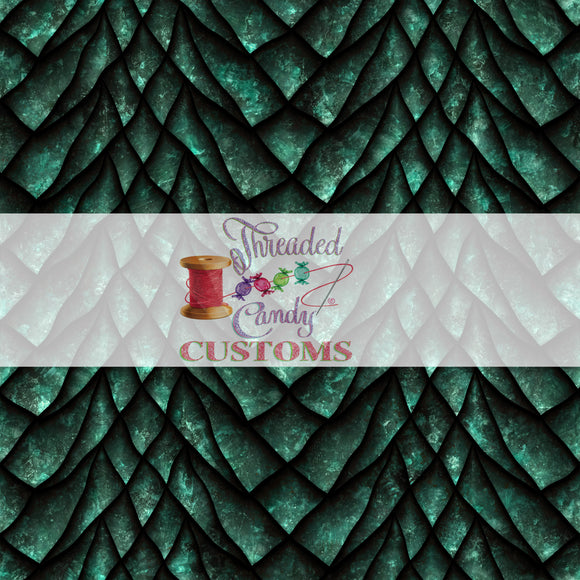 Retail Emerald Dragon Scales, Cotton Lycra Tumber/Cup cut (9x14