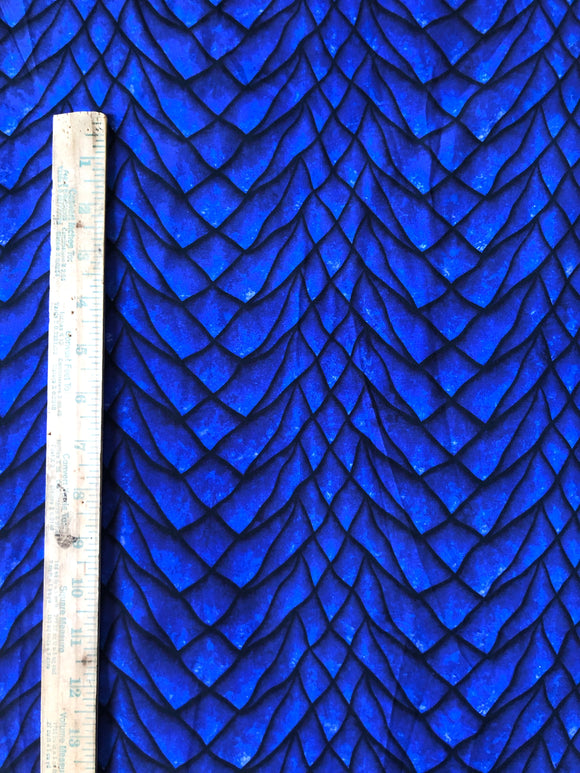 RETAIL Cobalt Dragon Scales-Tumbler Cut Cotton Lycra 9x14 inch