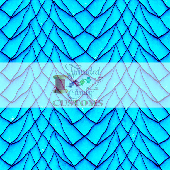 RETAIL Neon Cyan Dragon Scales Tumbler/Cup Cut Cotton Lycra