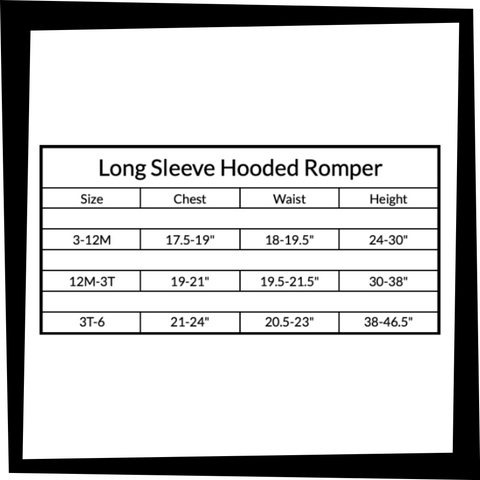 Long Sleeve Hooded Romper Sizing Chart