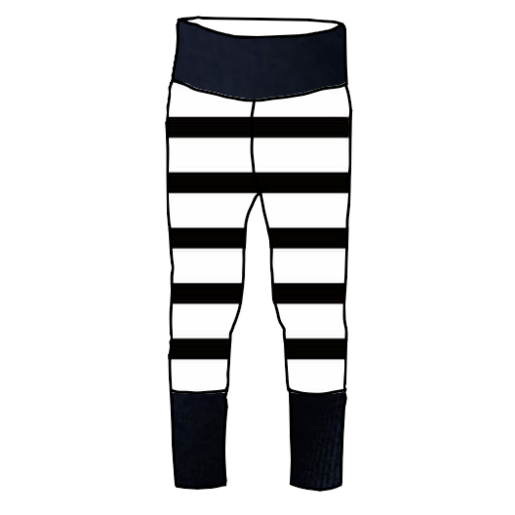 Black & White Stripe Joggers with Evening Blue