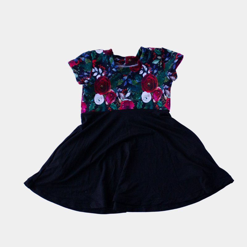 Christmas & Black Flowers Short Sleeve Dress
