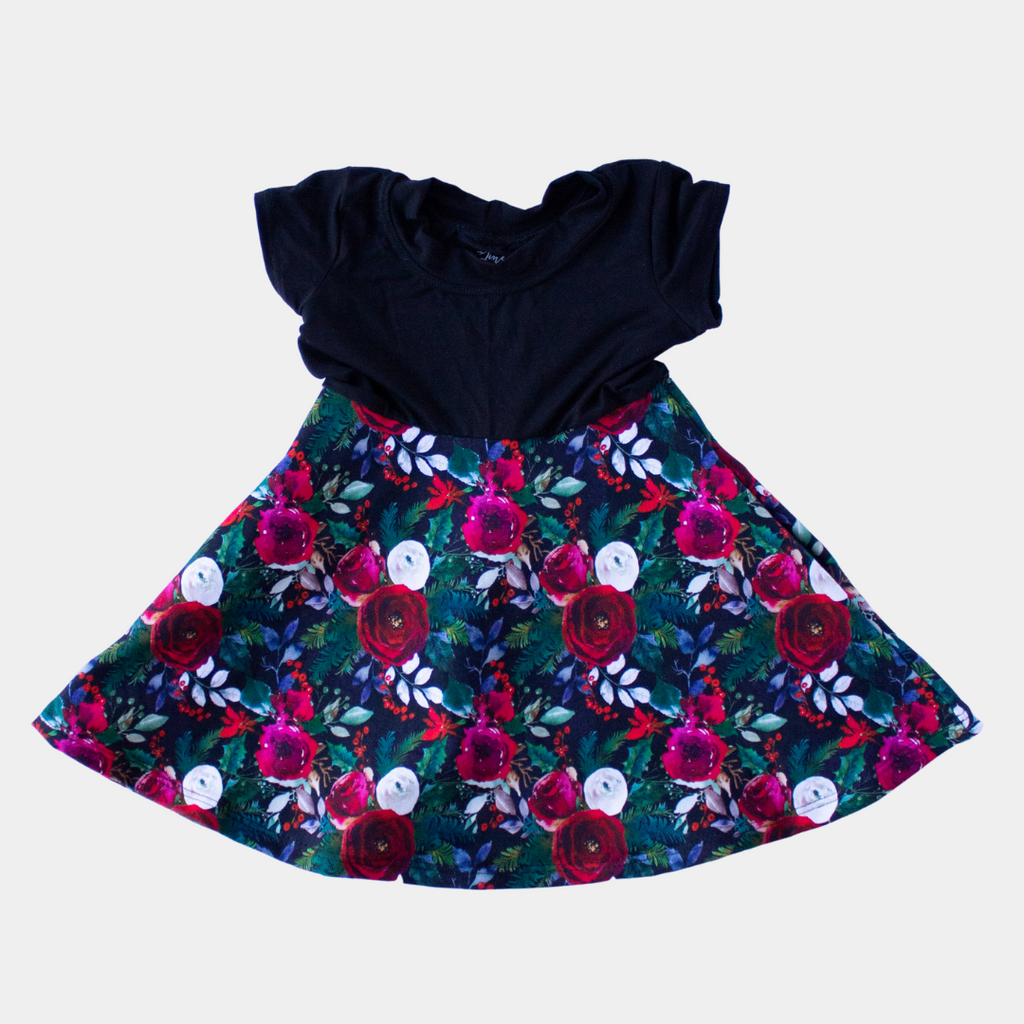 Black & Christmas Flowers Short Sleeve Dress