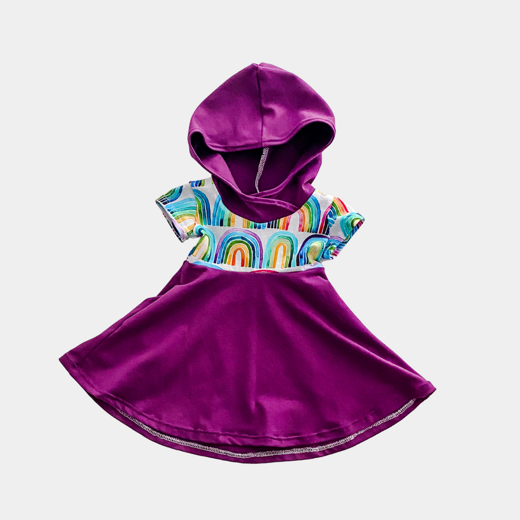 Purple & Rainbow Short Sleeve Hooded Dress