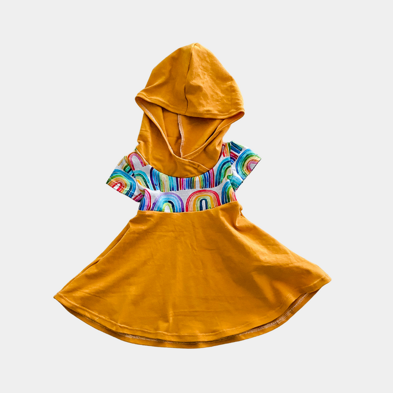 Mustard & Rainbow Short Sleeve Hooded Dress