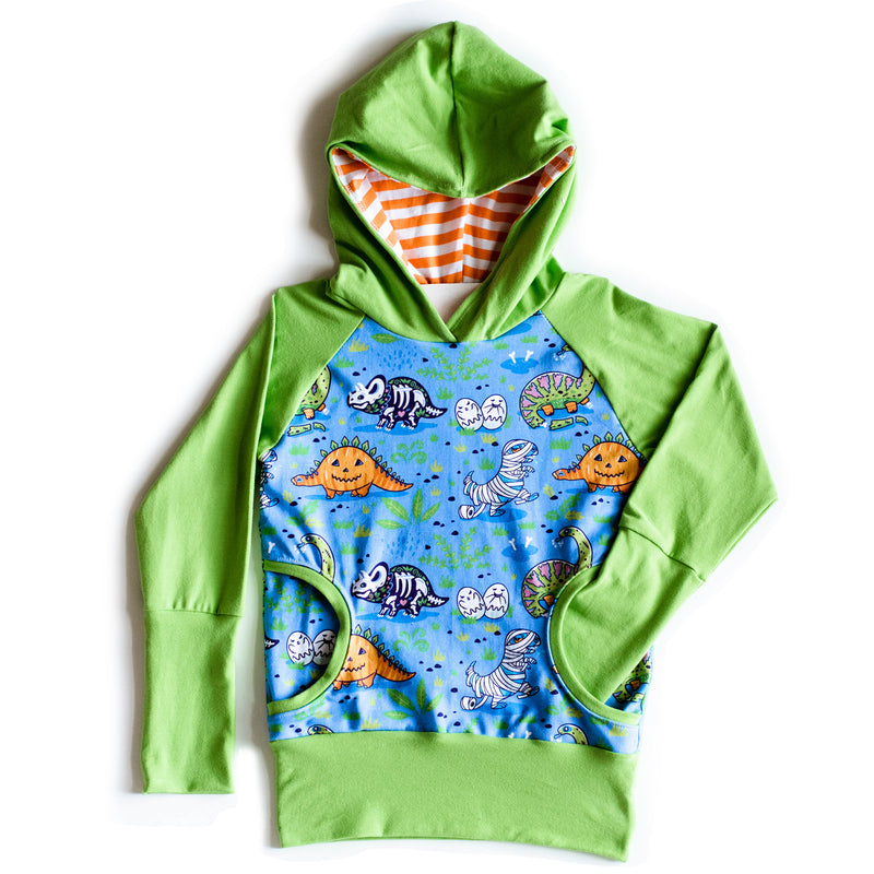 Bunny Hug Hoodie with Lime Green Cuffs | Blue Dinos