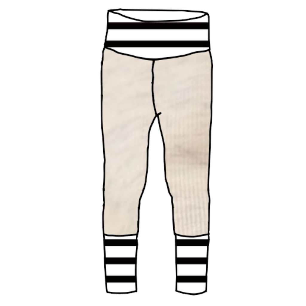 Vanilla Custard Joggers with Black & White Stripes