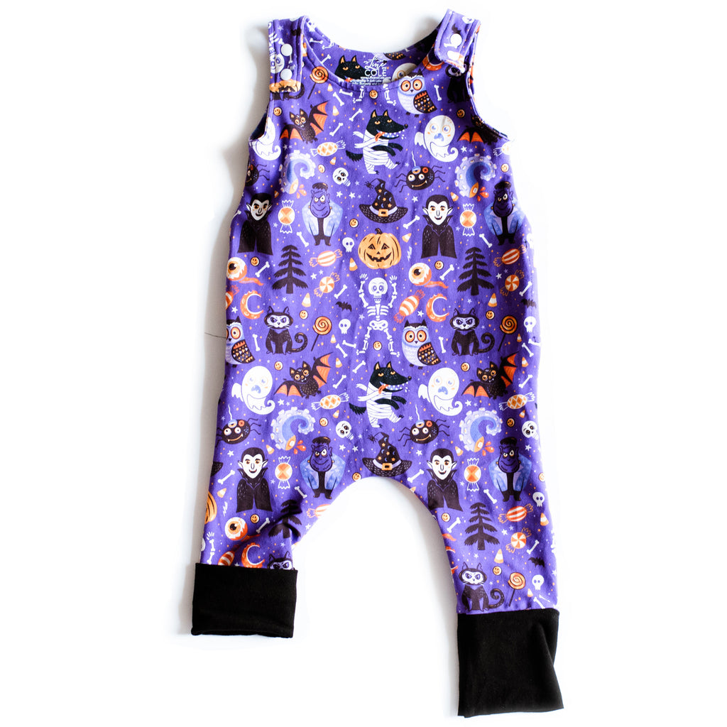 On the Grow Romper with Black Cuffs | Halloween Pals
