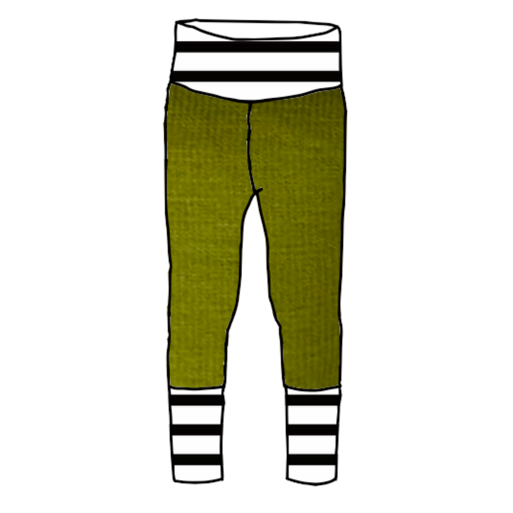 Guacamole Joggers with Black & White Stripes