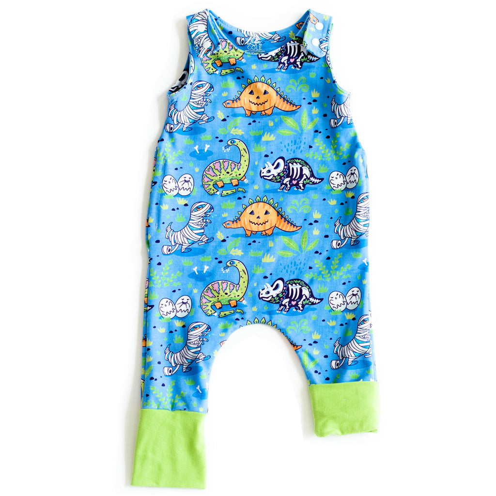 On the Grow Romper with Lime Green Cuffs | Blue Dinos