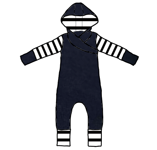Evening Blue with Black and White Stripes Long Sleeve Hooded Romper