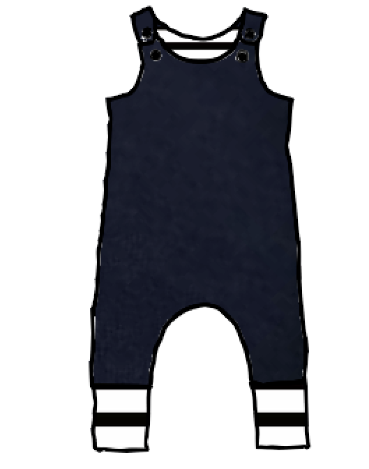 Evening Blue with Black & White Stripes On the Grow Romper with Snaps