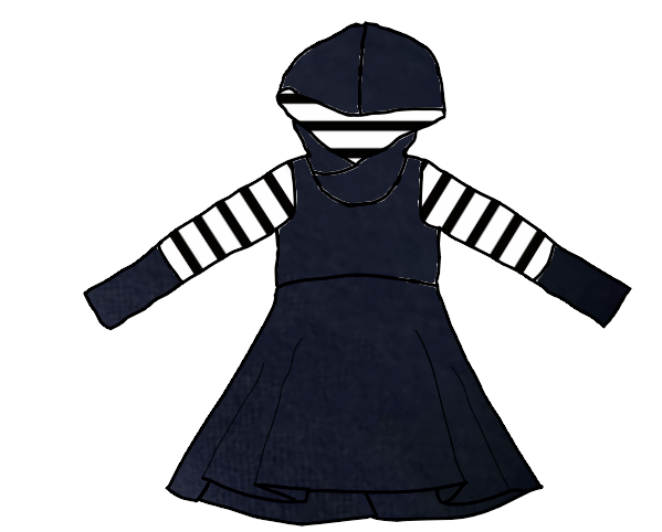 Evening Blue with Black & White Stripes Long Sleeve Hooded Dress