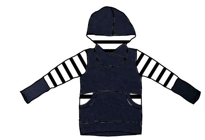 Evening Blue with Black & White Stripes Hoodie