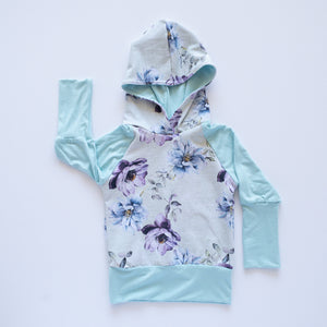 Floral Teal Hooded Shirts