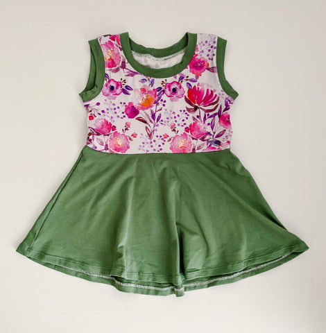 Retro Flower Sleeveless Peplum