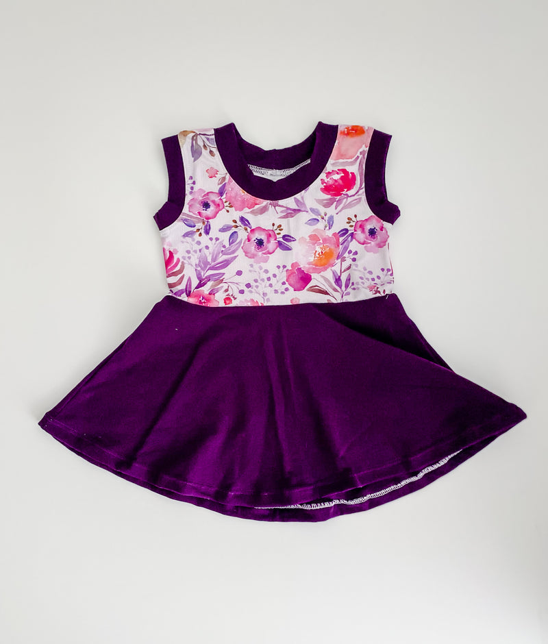 Purple & Flower Sleeveless Peplum