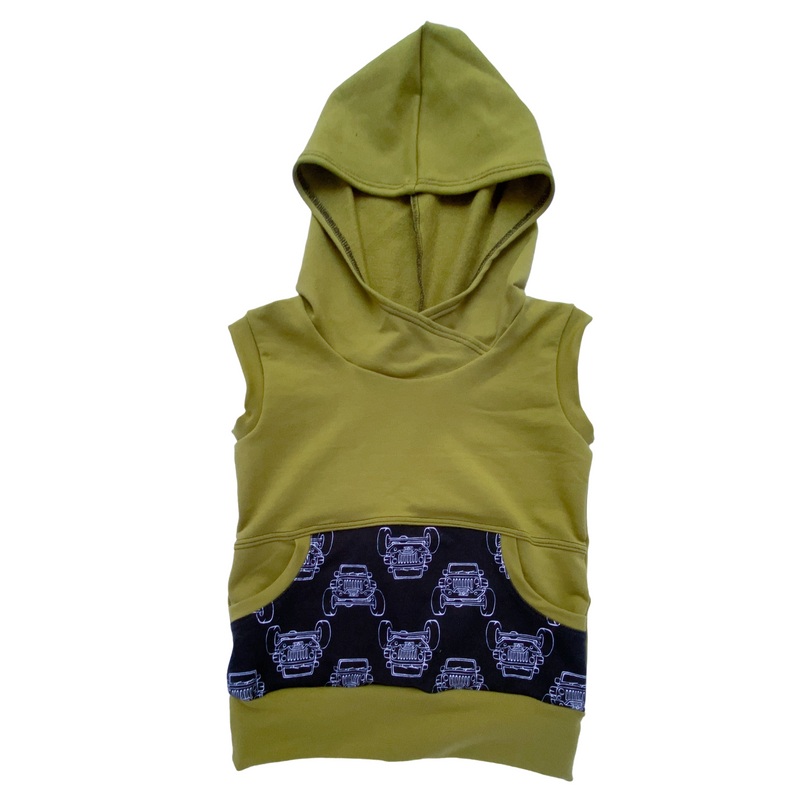 Olive Jeeps Sleeveless Hoodies