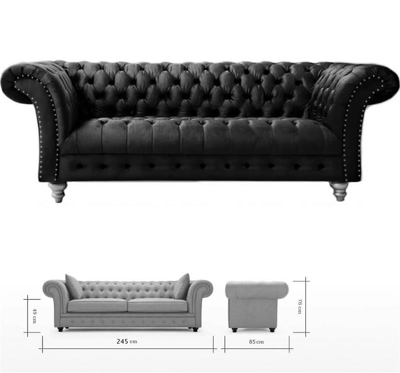 ... Handmade Plush Velvet Fabric Chesterfield Sofa Suite And Footstool,  Grey Colour Code 1231 23 ...