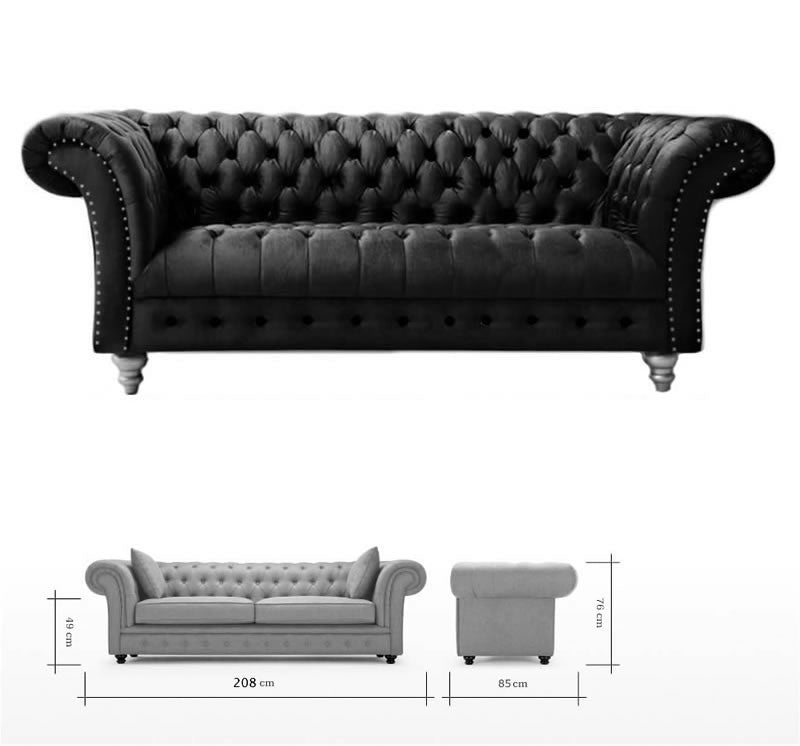 ... Handmade Plush Velvet Fabric Chesterfield Sofa Suite And Footstool,  Grey Colour Code 1231 23