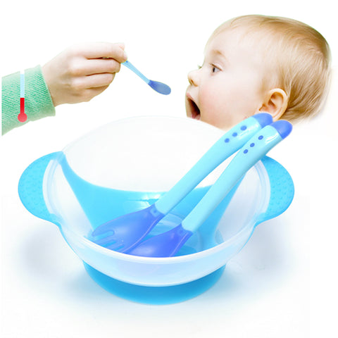 3Pcs/set Baby Learning Dishes With Suction Cup