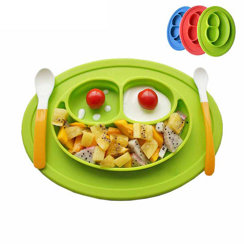 Silicone Feeding Food Plate Tray Dishes Food Holder for Baby