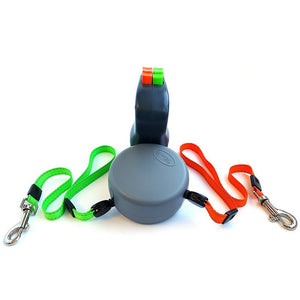 Retractable Tangle Proof Individually Controlled Double Dog Leash. (3 Colors Available)
