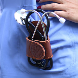 Professional Stethoscope Holder With Back Clip & Velcro Wings. (Genuine Leather, Handmade In U.S.A)