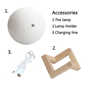 3D Printed Touch Switch LED Moon Night Light. (Adjustable Brightness)