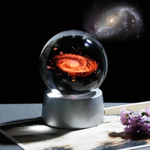 3D Laser Engraved 6CM & 8CM Solar System & Galaxy Glass Sphere. (With Chargeable Multicolor LED Base)