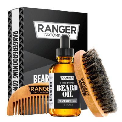 Beard Kit - Fragrance Free Beard Oil, Boar Bristle Brush + Comb