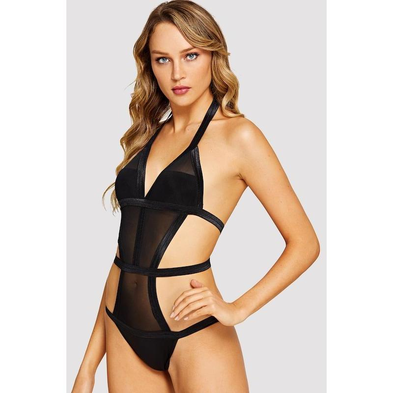 Ladder Cut-Out Teddy Bodysuit - ShopHaya.com
