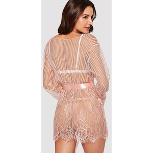 Eyelash Lace Robe With Thong And Belt - ShopHaya.com