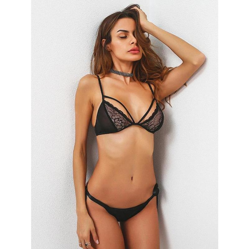 Tie Side Strappy Lace Insert Bra Set