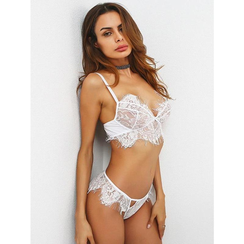Scallop Trim Eyelash Lace Lingerie Set - ShopHaya.com
