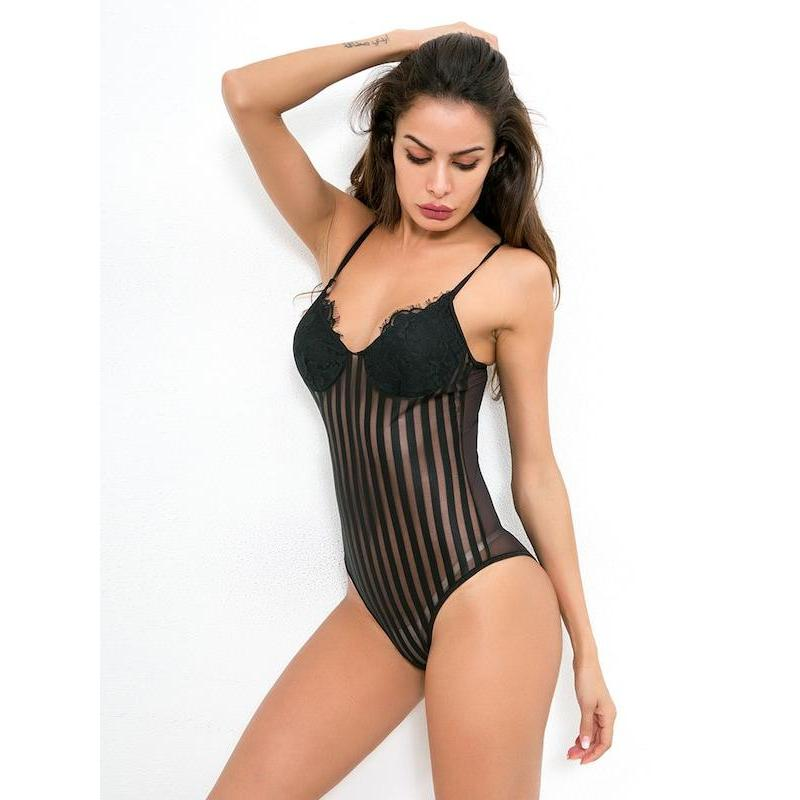 Eyelash Lace Striped Teddy Bodysuit - ShopHaya.com