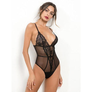 Scalloped Trim Teddy Bodysuit - ShopHaya.com