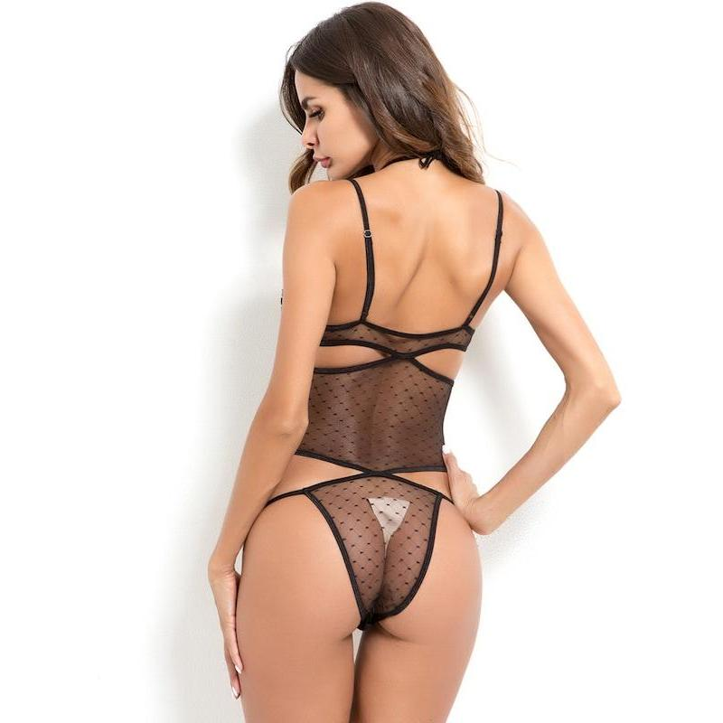 Cut-Out Sheer Teddy Bodysuit - ShopHaya.com