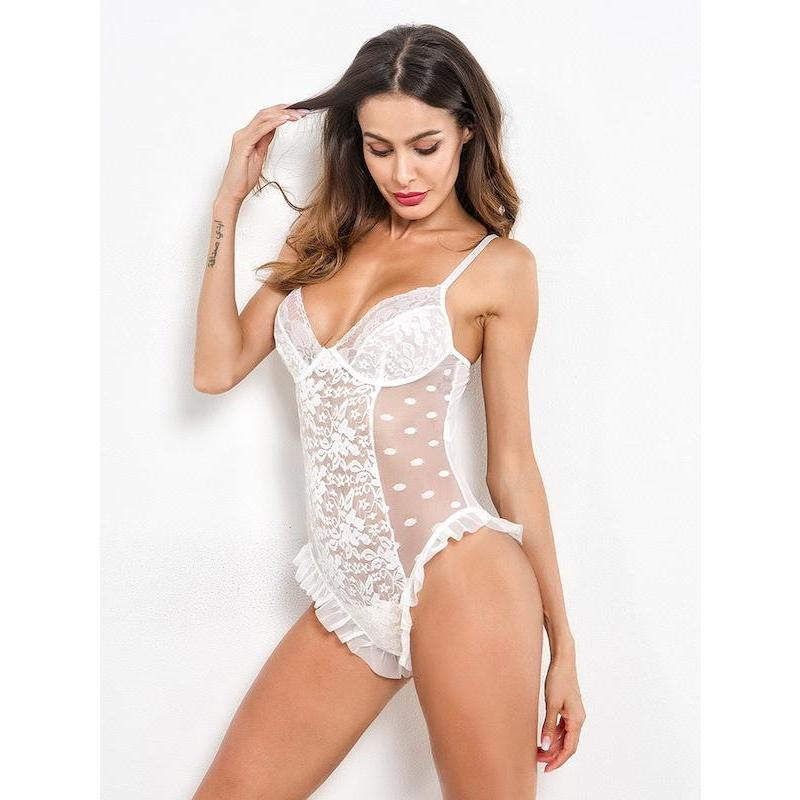 Ruffle Trim Lace Teddy Bodysuit - ShopHaya.com