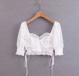 Jamie Bustier Embroidery Cropped Top