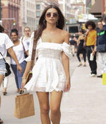 Worn By Emily Ratajkowski: Embroidery Ruffle Boho Summer Dress