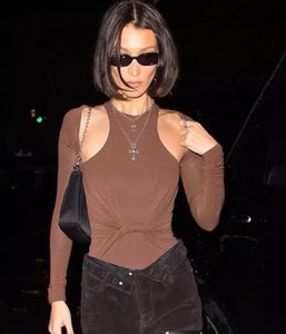 Worn By Bella Hadid: Front Cutout Bodysuit
