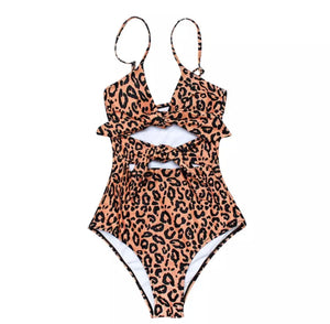 Tina Leopard Bow Ties One Piece Swimsuit